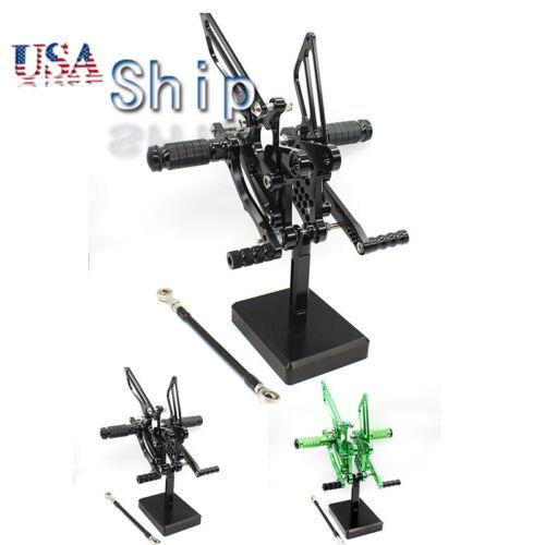 USA For KAWASAKI Ninja ZX6R ZX636 Foot Peg Rest Rearsets 2099 2010 2011-2015 CNC