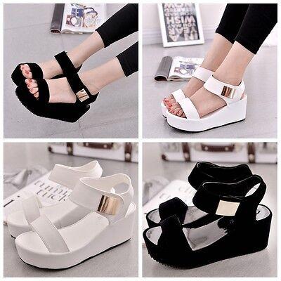 Korean Women Lady Muffin Open Toe Sandals Thick Bottom High Heel Platform Shoes