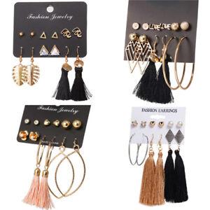 2018-New-Design-Long-Tassel-Stud-Earring-Set-For-Women-Bohemia-Fashion-Jewelry