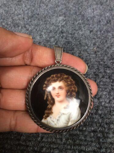 Antique hand paint sterling silver portrait pendan