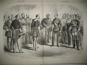 ITALIE-ARMISTICE-VILLAFRANCA-NAPOLEON-III-EMPEREUR-FRANCOIS-JOSEPH-GRAVURES-1859