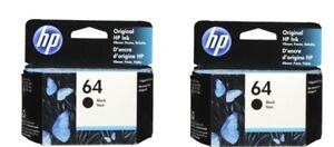 HP #64 Black N9J90AN 64 Ink Cartridge 2 pack NEW GENUINE