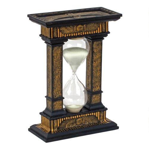 Egyptian Hieroglyphic Faux Ebony /& Gold Glass Timepiece Five Minute Hourglass