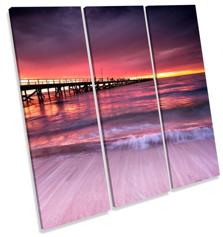 Sunset Beach Pier Adelaide TREBLE CANVAS Wand Kunst Square Drucken Bild