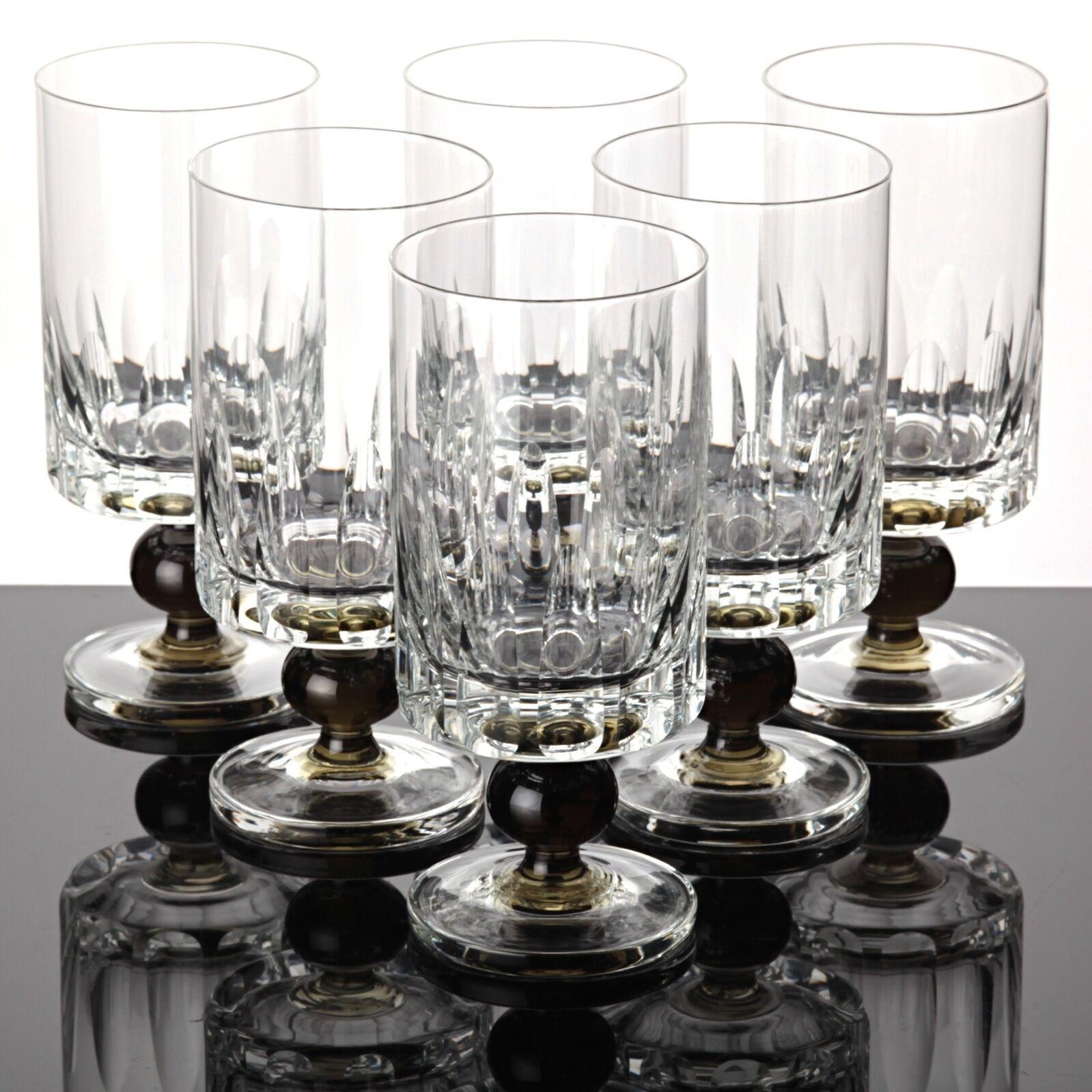 6 Friedrich Kristall Glas Saft Gläser Kugel Stängel Wassergläser  60er Jahre | Kaufen Sie online