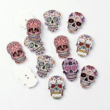 10 x Wooden Sugar Skull Buttons Flatback 2 hole scrapbooking card embellishment