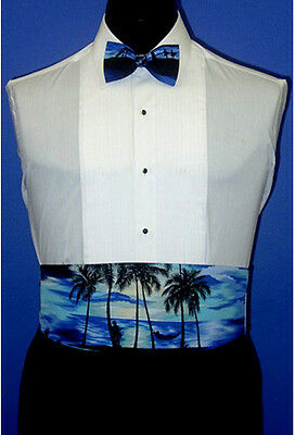 Royal Tradewinds Tropical Cummerbund and Bow Tie Set