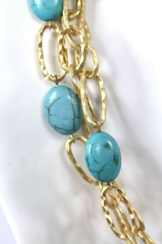 D9 Natural Stone Brushed Gold Turquoise Lightweight Layered Chain Necklace $110