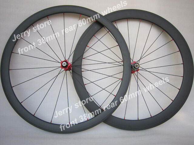 Carbon fiber road bike wheels clincher 38mm clincher front and 60mm rear 700C