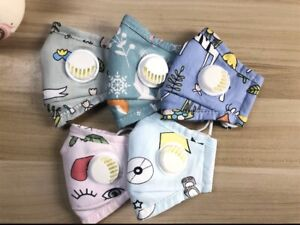 2-Cute-Comfortable-Cotton-Washable-Kids-Face-Masks-With-Valve-1-Day-Shipping