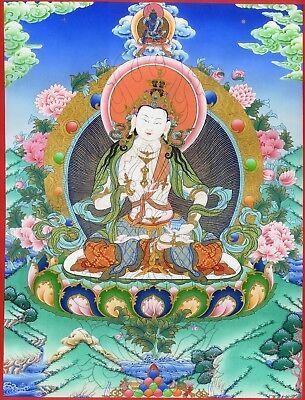 "Asian Antiques Thangka Vajrasattva Dorje Sempa "" Top Stampa "" Buddha Tibet Bodhisattva Nepal"
