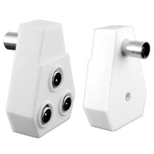 TV Fernseher Antennen-Adapter Verteiler Splitter 1 Female 3 Male Farbe Weiß