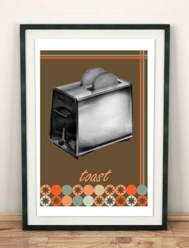 Modern Kitchen Art Pattern Toaster Print Foodie Gift Bar Art Vintage