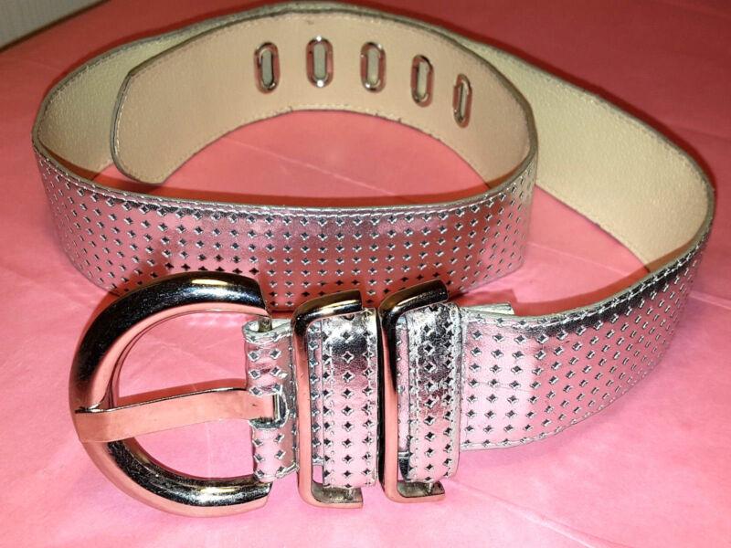 Gü86-silber 5 Cm Breit 103 Cm Lang Faux Leder Perforiert M S Damen Gürtel Fetzig