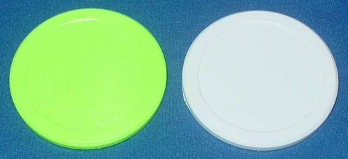 Valley/Dynamo Large 3 1/4 Inch Air Hockey Pucks - Green & Quiet White - Set of 2