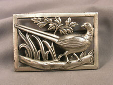 Vintage Norseland by Coro Sterling Silver Pheasant in Landscape Plaque Brooch