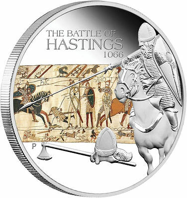 Frugal Tuvalu 2009 The Battle Of Hastings 1066 $1 Famous Battles In History 1 Oz Silver