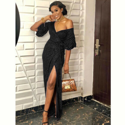 Womens Off Shoulder Split Bodycon Dress Ladies Evening Party Cocktail Ball Gown