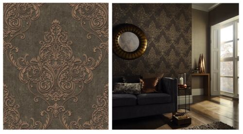292001 Arthouse Valdina Bronze Damask Heavy Glitter Brown Wallpaper