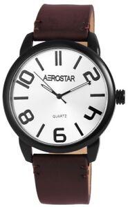 Aerostar-Herrenuhr-Silber-Braun-Analog-Metall-Kunst-Leder-Quarz-X211072500004
