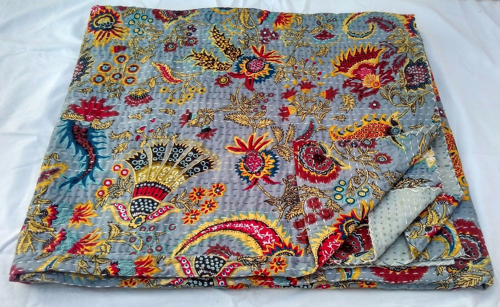 Throw Sheet Queen Size King SIze Fine Hand Craft Kantha Bedsheet Blanket Cotton