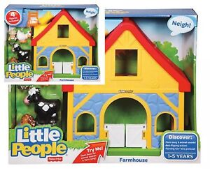 Fisher-Price-Little-People-Farmhouse-Set-1-Toy-Farmer-Hen-Cow-Horse-Chick-Play