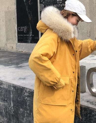 Casual Længde Parka Sz Hip Polstret Hooded Pocket Korean Kvinder Fur Gul Frakker xwzqvAxY