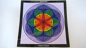 Laminated-Chakra-Healing-Crystal-Stone-Tabletop-Color-Grid-8inch-Flower-of-Life