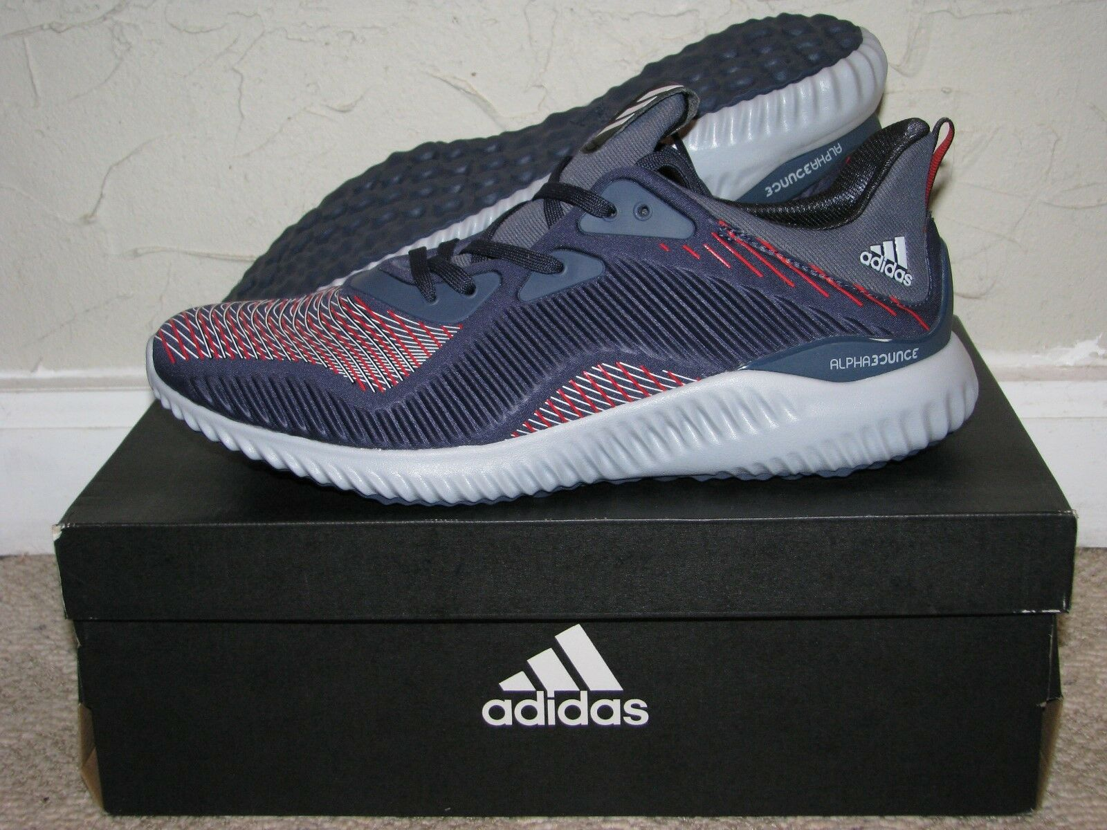 Adidas Alphabounce HPC Navy bluee   Grey   Red Mens Size 10 DS NEW  BB9051