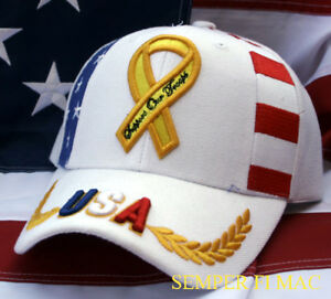 bf4e68e9b18447 I SUPPORT OUR TROOPS HAT CAP US ARMY MARINES NAVY AIR FORCE YELLOW ...