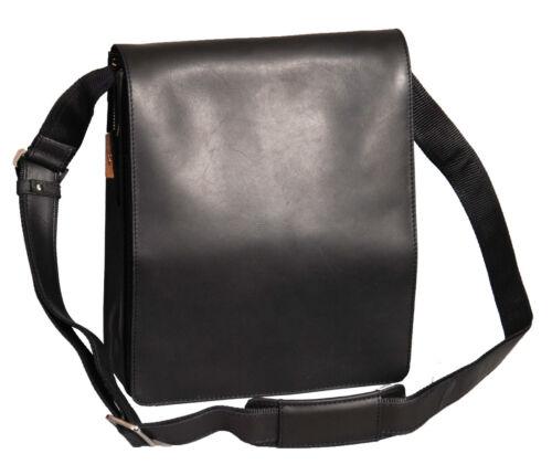 Mens Leather Messenger Bag Vintage Black Brown Flap Over Work School Uni Bag