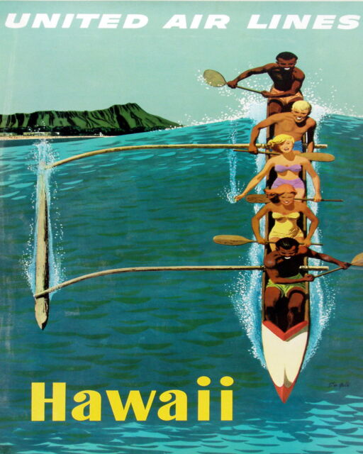 VINTAGE ART hawaii  TRAVEL POSTER A1 SIZE PRINT CANVAS