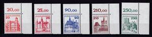 BRD-1978-79-postfrisch-Burgen-Schloesser-Eckrand-oben-rechts-MiNr-995-999