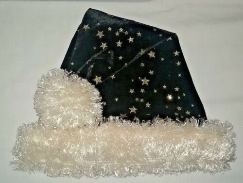 "24/"" BLACK Santa hat with GOLD STARS IVORY cream faux fur ball /& trim"