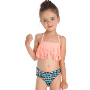 d87b8dc19b5ab1 2-6 Years Kids Two Piece Tassel Fringe Bikini Set Little Girls ...