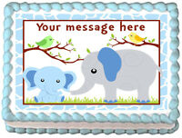 Blue Baby Elephant Mom And Baby Image Edible Cake Topper Decoration