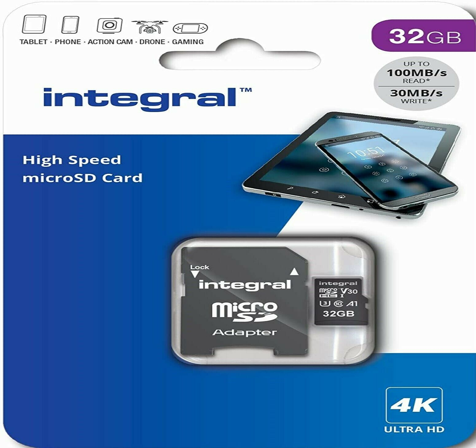 32GB 64GB 128GB Micro SD Card 4K Memory U3 V30 For Camcorder,Handycam,IP Camera