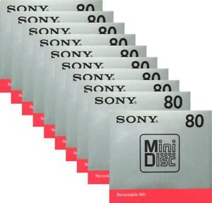 Official-Sony-MD-Blank-Minidisc-80-Minutes-Recordable-MD-MDW80T-10-disk-set