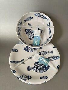 Sigrid Olsen Blue Fish MELAMINE Dinner Plates Set Of 4 School Of Fishes