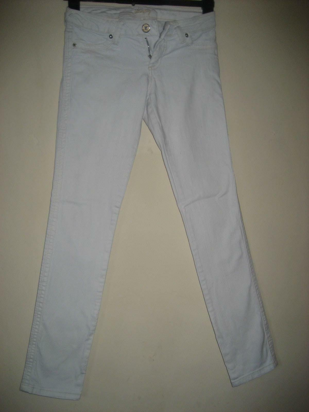 BT3) WOMENS WHITE NEW LOOK SKINNY JEANS SIZE 8 INCHES LEG 29  ZIP FLY