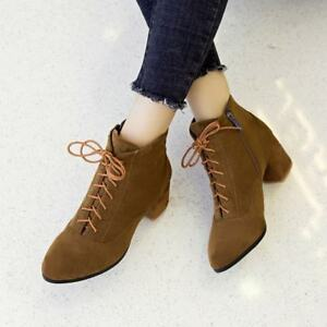 Womens-Faux-Suede-Ankle-Boots-Mid-Block-Heels-Pointy-Toe-Lace-Up-Chelsea-Pumps