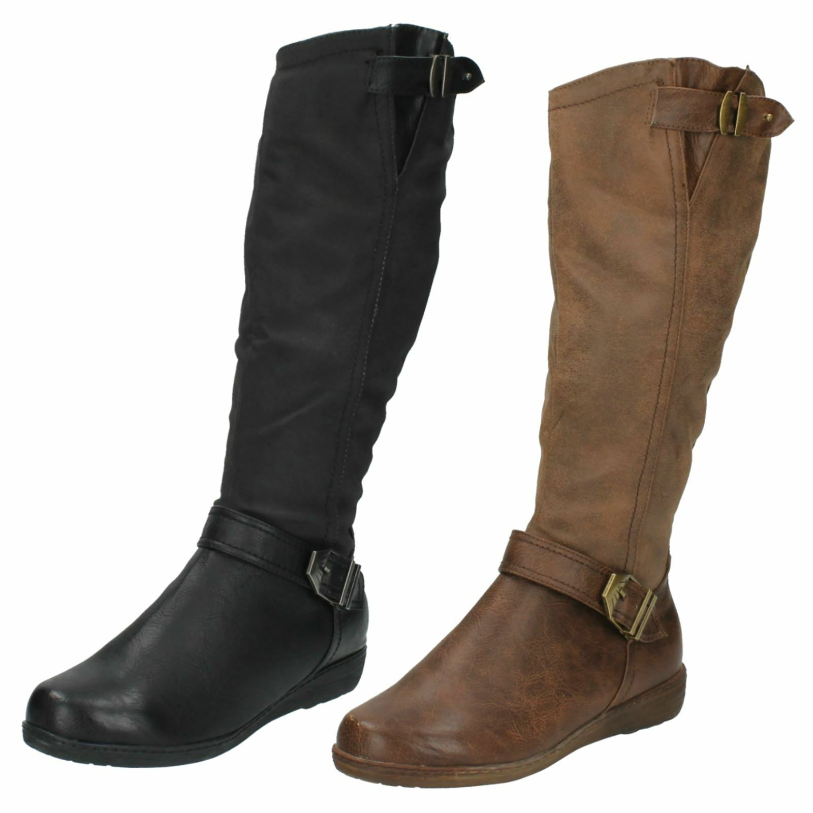 Ladies Spot On Knee High Casual 'Boots'