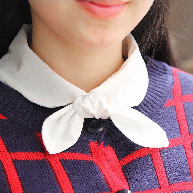 Women Detachable Check Fake Lapel Shirt Tie Collar Necklace Removable Choker Bow