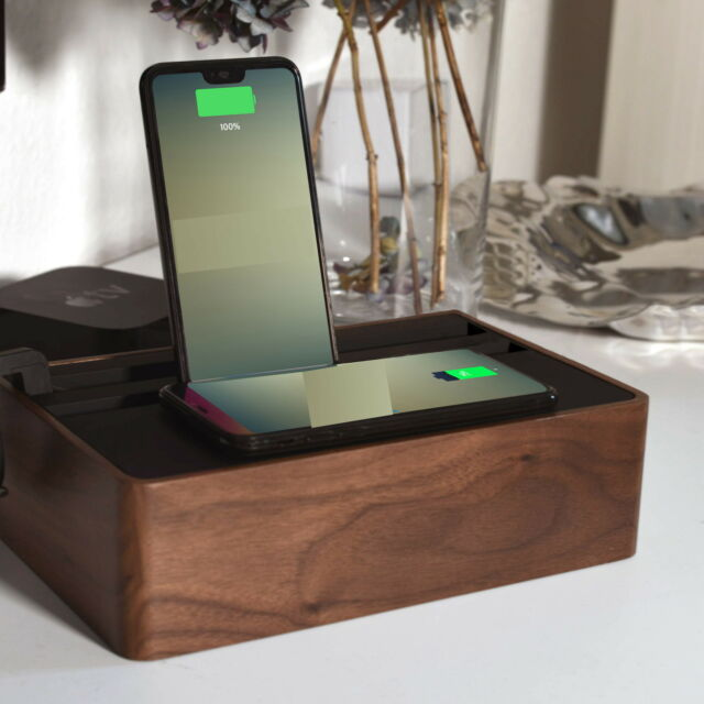 NEW HybridX Compact Charging Dock With Walnut Base & Black Top by ALLDOCK