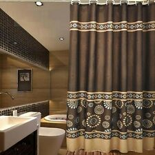 "Bathroom Fabric Shower Curtain Set 72"" x 75"" Mildew Free Water Repellent Coffee"