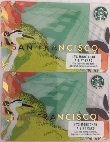 Lot 2 Starbucks SAN FRANCISCO 2018 gift card set NEW! California 2017