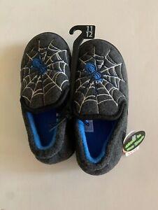 Blue Wonder Nation Glow in The Dark Spider Slippers Grey