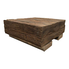 Massivholz Recycling Antik Look Holz Tisch Couchtisch Edelstahlfüße 80 cm AF-04A