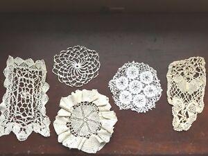 Lot 5 Vintage Doilies Doily Crochet  Crocheted Cotton 26058 Ecru Ivory Lace
