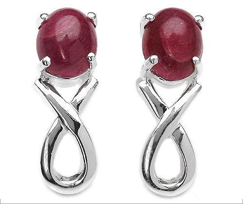 Pure Sterling Silver 2+Ct Genuine Ruby Stud Earrings  RE11